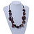 Wood and Ceramic Bead with Cotton Cord Necklace In Brown/ Black - 60cm L - view 2