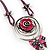 Rose And Butterfly Vintage Leather Cord Pendant (Purple, Pink&Lilac) - view 6