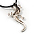 Antique Silver Crystal Lizard Velour Cord Pendant - view 6