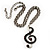 Antique Silver Tone Music Treble Clef Pendant (Purple) - view 2