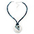 Tribal Hammered Round Blue Silk Cord Pendant (Silver Tone) - view 4