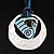 Tribal Hammered Round Blue Silk Cord Pendant (Silver Tone) - view 2