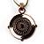 Black&White Enamel Disk Cord Pendant (Copper Tone)