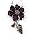 Purple Enamel Floral Drop Pendant (Silver Tone)