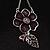 Purple Enamel Floral Drop Pendant (Silver Tone) - view 4