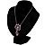 Purple Enamel Floral Drop Pendant (Silver Tone) - view 5