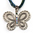 Vintage Butterfly Cord Pendant (Green&Blue) - view 2