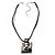 Square Shaped Ornate Cord Pendant (Antique Silver Tone) - view 4