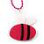 Deep Pink Plastic Bee Pendant