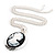 Long Cameo 'Classic Lady' Silver Tone Oval Locket Pendant - 56cm L - view 6