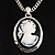 Long Cameo 'Classic Lady' Silver Tone Oval Locket Pendant - 56cm L - view 3