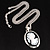 Long Cameo 'Classic Lady' Silver Tone Oval Locket Pendant - 56cm L - view 4