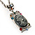 Long 'Classic Lady' Multicoloured Crystal Cameo Pendant Necklace (Silver Tone) - view 4