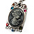Long 'Classic Lady' Multicoloured Crystal Cameo Pendant Necklace (Silver Tone) - view 8
