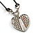 Silver Tone Heart Pendant On Leather Cord - view 4