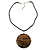 Huge Shell Floral Cotton Cord Pendant (Silver Tone) - view 4