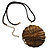 Huge Shell Floral Cotton Cord Pendant (Silver Tone) - view 2