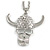 Diamante Skull With Horns Pendant Necklace (Rhodium Plated) - 60cm