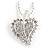 Clear Crystal Leaf Pendant Necklace (Silver Tone) -50cm