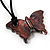 Multicoloured Glass Butterfly Suede Cord Pendant - 42cm - view 5