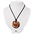 Glittering Gold Glass Medallion Suede Cord Pendant - 42cm - view 3