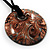 Glittering Gold Glass Medallion Suede Cord Pendant - 42cm - view 5