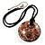 Glittering Gold Glass Medallion Suede Cord Pendant - 42cm - view 2