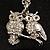 Long Diamante Owl Pendant Necklace (Silver Tone) - 66cm - view 2
