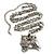 Long Diamante Owl Pendant Necklace (Silver Tone) - 66cm - view 3