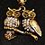 Long Diamante Owl Pendant Necklace (Antique Gold Tone) - 66cm - view 2