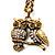Long Diamante Owl Pendant Necklace (Antique Gold Tone) - 66cm - view 8