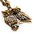 Long Diamante Owl Pendant Necklace (Antique Gold Tone) - 66cm - view 3