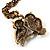 Long Diamante Owl Pendant Necklace (Antique Gold Tone) - 66cm - view 5
