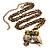 Long Diamante Owl Pendant Necklace (Antique Gold Tone) - 66cm - view 4