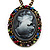 Dark Grey Crystal Cameo 'Lady With Rose Flower' Oval Pendant (Bronze Tone)