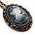 Dark Grey Crystal Cameo 'Lady With Rose Flower' Oval Pendant (Bronze Tone) - view 2