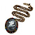 Dark Grey Crystal Cameo 'Lady With Rose Flower' Oval Pendant (Bronze Tone) - view 3