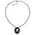 Dark Grey Crystal Cameo 'Lady With Rose Flower' Oval Pendant (Bronze Tone) - view 6