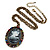 Dark Grey Crystal Cameo 'Lady With Rose Flower' Oval Pendant (Bronze Tone) - view 7