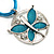 Light Blue Enamel Cotton Cord Butterfly Pendant Necklace (Silver Tone) - 40cm Length - view 7