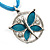 Light Blue Enamel Cotton Cord Butterfly Pendant Necklace (Silver Tone) - 40cm Length - view 3