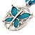Light Blue Enamel Cotton Cord Butterfly Pendant Necklace (Silver Tone) - 40cm Length - view 5