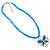 Light Blue Enamel Cotton Cord Butterfly Pendant Necklace (Silver Tone) - 40cm Length - view 2