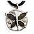 Dark Grey Enamel Cotton Cord Butterfly Pendant Necklace (Silver Tone) - 40cm Length