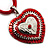 Red Enamel Crystal Heart Cotton Cord Pendant Necklace(Silver Tone) - 40cm Lengh - view 3