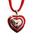 Red Enamel Crystal Heart Cotton Cord Pendant Necklace(Silver Tone) - 40cm Lengh - view 4