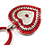 Red Enamel Crystal Heart Cotton Cord Pendant Necklace(Silver Tone) - 40cm Lengh - view 5