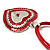 Red Enamel Crystal Heart Cotton Cord Pendant Necklace(Silver Tone) - 40cm Lengh - view 6