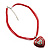 Red Enamel Crystal Heart Cotton Cord Pendant Necklace(Silver Tone) - 40cm Lengh - view 2