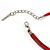 Red Enamel Crystal Heart Cotton Cord Pendant Necklace(Silver Tone) - 40cm Lengh - view 8